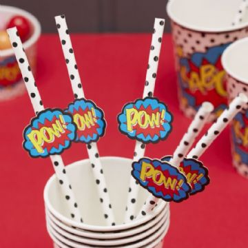 "Black & White Spotty Paper Straws ""POW!"" - pack of 25"